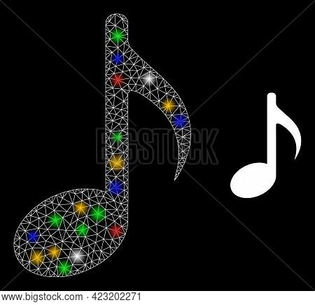 Bright Mesh Net Music Note With Colorful Bright Dots. Illuminated Vector Mesh Created From Music Not