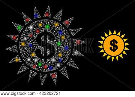 Bright Mesh Net Dollar Shine With Multicolored Lightspots. Constellation Vector Model Created From D