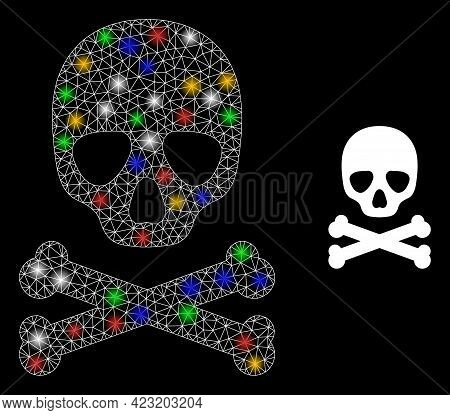 Glowing Mesh Net Death Skull With Colored Light Dots. Constellation Vector Frame Created From Death