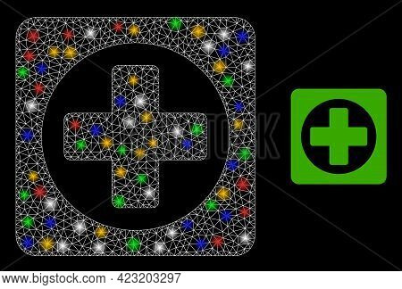 Shiny Mesh Web Create With Colored Light Dots. Constellation Vector Frame Created From Create Icon.