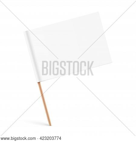 White Paper Flag With A Wooden Stick.