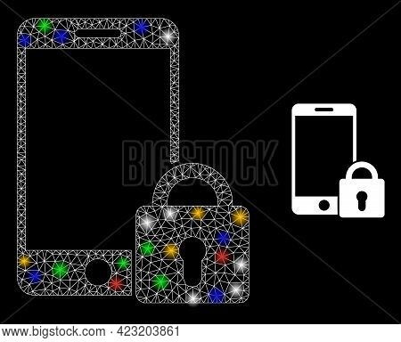 Shiny Mesh Web Locked Smartphone With Colored Light Spots. Constellation Vector Structure Created Fr