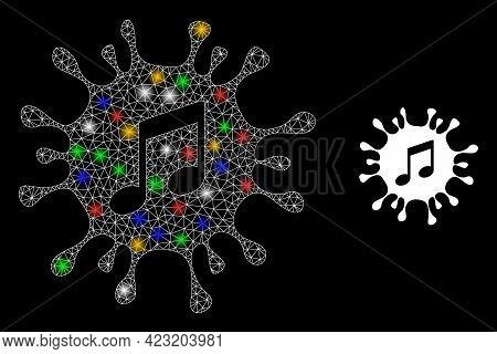 Shiny Mesh Net Virus Melody With Vibrant Lightspots. Constellation Vector Model Created From Virus M