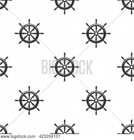 Nautical Seamless Pattern With Black Helms On White. Ship And Boat Steering Wheel Ornament. Marine B