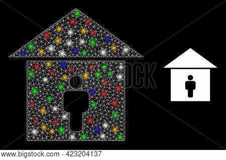 Shiny Mesh Net Self Isolation With Multi Colored Light Dots. Illuminated Vector Carcass Created From