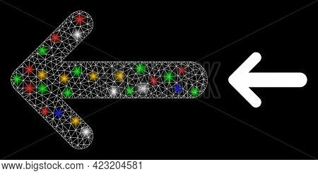 Bright Mesh Network Arrow Left With Colored Glowing Spots. Constellation Vector Carcass Created From