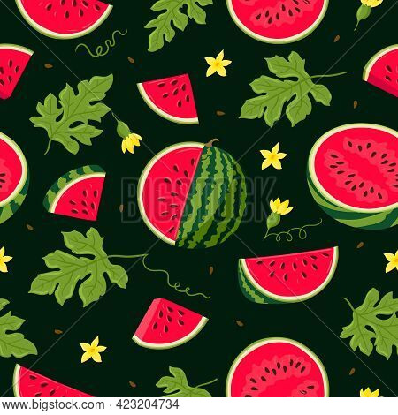 Watermelon Vector Seamless Pattern. Watermelon, Whole, Sliced, Halves, Slices, Quarters, Seeds, Infl