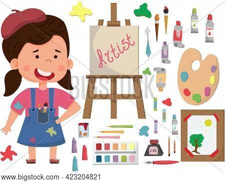 Smiling Artist Girl Girl Painting Picture On Canvas On Easel. Child Art Education. Flat Vector Chara