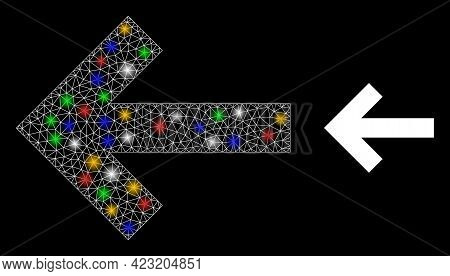 Bright Mesh Network Left Direction Arrow With Multicolored Bright Dots. Illuminated Vector Structure