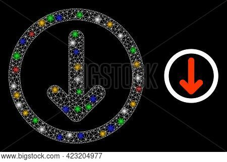 Flare Mesh Web Rounded Down Arrow With Colorful Glowing Spots. Constellation Vector Carcass Created