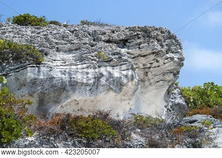 The Structure Of Eroded Cliff On Grand Turk Island Shore (turks And Caicos Islands).