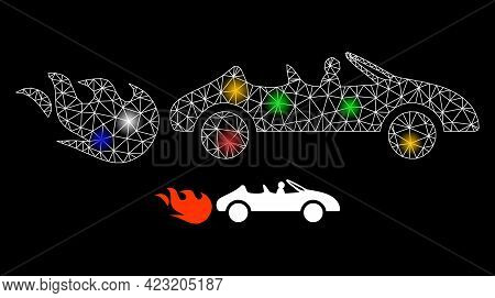 Glare Mesh Net Cabriolet Rush With Colorful Light Dots. Constellation Vector Frame Created From Cabr