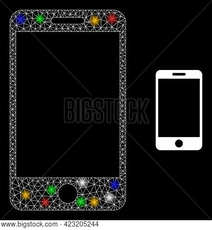 Glare Mesh Net Smartphone With Multi Colored Glowing Spots. Constellation Vector Carcass Created Fro