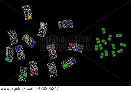 Shiny Mesh Web Dollar Banknotes With Colored Light Dots. Constellation Vector Model Created From Dol