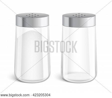 Vector Set Of Salt Shakers Glass Bottles.
