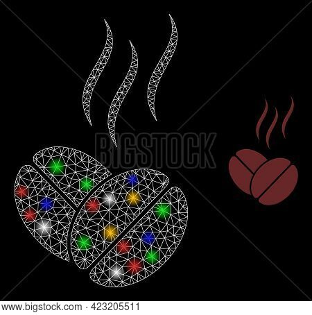 Glowing Mesh Net Coffee Aroma With Colored Glowing Spots. Constellation Vector Mesh Created From Cof
