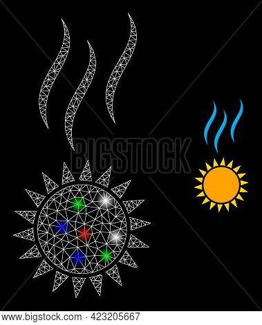 Glare Mesh Web Sun Warm With Multi Colored Bright Dots. Illuminated Vector Mesh Created From Sun War