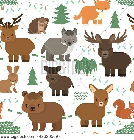 Vector Seamless Pattern With Forest Animals. Hedgehog Bear Deer Fox Wolf Boar Hog Hare Elk In The Fo