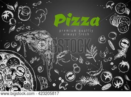 Hand Drawn Pizza Line Banner. Engraved Style Chalk Doodle Background. Savoury Pizza Ads With 3d Illu