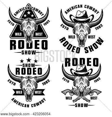 Rodeo Show Set Of Four Vector Wild West Style Vector Illustration In Vintage Monochrome Style Isolat