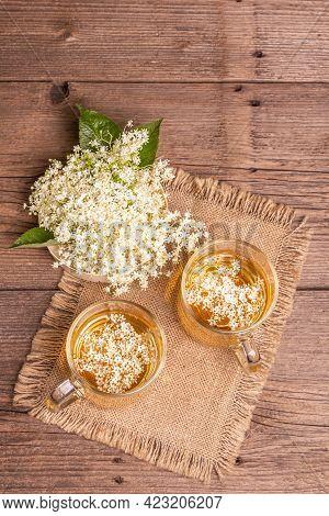 Elderberry Flower Tea. Refreshing Summer Drink, Healthy Lifestyle Concept