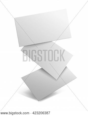 Business Card Blank. Realistic Falling Branding Cards, Advertise Presentation. Empty Rectangle Paper
