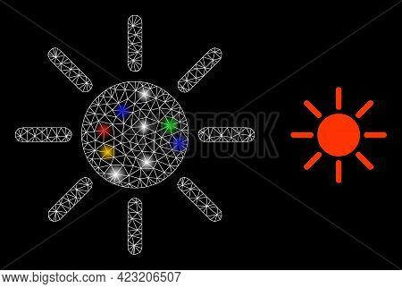 Shiny Mesh Web Brightness With Vibrant Lightspots. Illuminated Vector Carcass Created From Brightnes