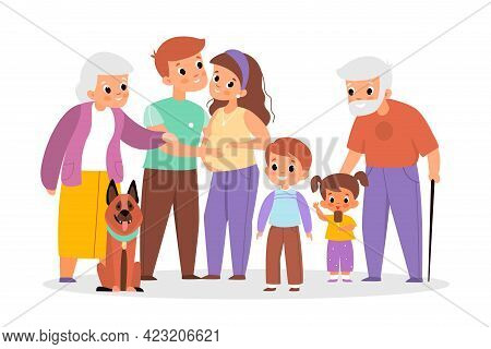 Big Family Portrait. Happy People Characters Group, Different Ages Relatives, Parents And Children W