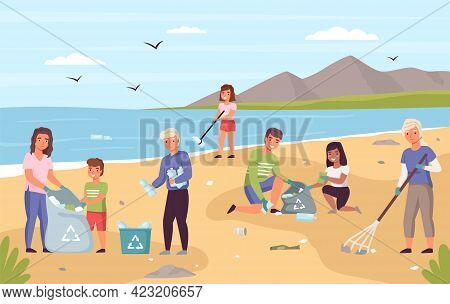 Collect Beach Garbage. Parents With Children Clean Seashore From Trash, People Ecologic Activity, Vo
