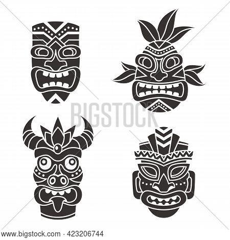 Mask Idol. Ritual Black Totem Tribal Face Masks, God Tiki African Culture. Ethnic Mayan, Aztec And P