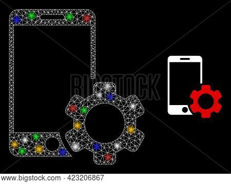 Bright Mesh Net Smartphone Repair Gear With Colored Lightspots. Constellation Vector Frame Created F
