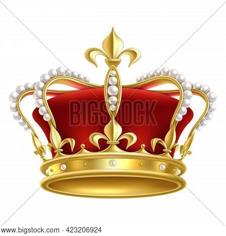 Royal Realistic Crown. Luxury Imperial Monarchy Medieval Accessory For King, Heraldic Sign. Monarch