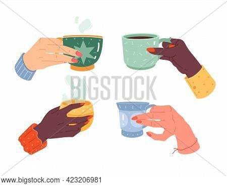 Woman Hands Cups. Female Hand With Manicure Hold Different Mugs. Hot Drink, Coffee, Cocoa And Tea In