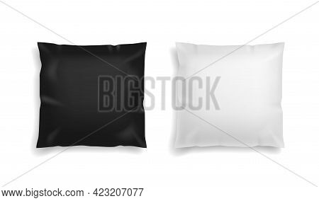 Pillow Black And White. Realistic Comfort Orthopedic Square Soft Pillows Mockup. Textile Cushion For