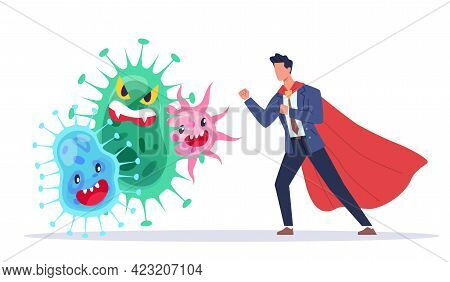 Fight Against Viruses. Countering Viruses. Man In Superhero Suit And Pathogens, Infections Protectio