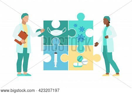 Medical Decision. Doctors In Uniform With Huge Puzzle, Teamwork In Clinic Or Hospital, Diagnosis And