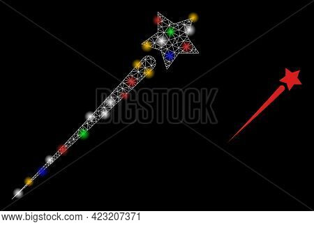 Bright Mesh Network Flying Star With Colored Glowing Spots. Illuminated Vector Frame Created From Fl