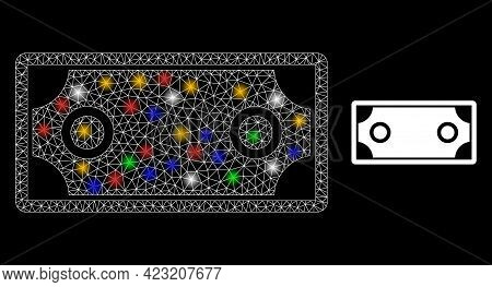 Glare Mesh Net Banknote Template With Colorful Lightspots. Constellation Vector Carcass Created From