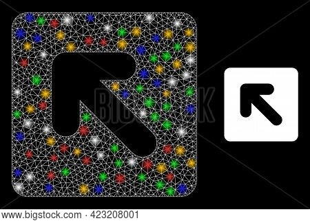 Bright Mesh Network Left Up Direction With Multicolored Bright Dots. Constellation Vector Model Crea