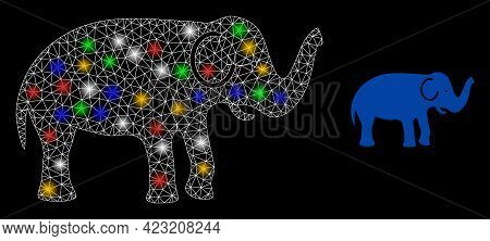 Bright Mesh Web Elephant With Vibrant Glowing Spots. Illuminated Vector Carcass Created From Elephan