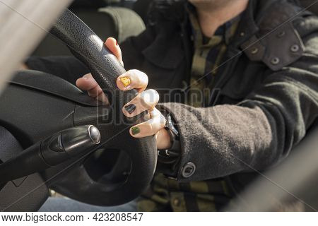Hand On Horn. Man Drive A New Car. New Design. Man And His Car. Use Horn. A Man With Painted Nails.
