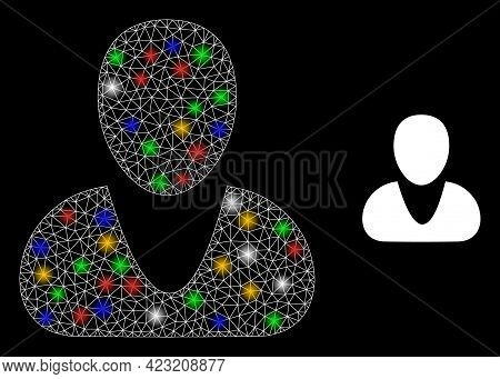 Shiny Mesh Net Guy With Multi Colored Light Dots. Constellation Vector Mesh Created From Guy Symbol.