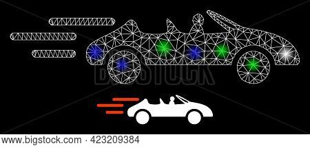 Shiny Mesh Net Cabriolet Movement With Colored Light Spots. Illuminated Vector Mesh Created From Cab
