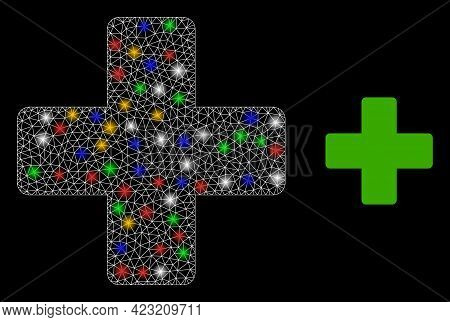Flare Mesh Web Veterinary Cross With Vibrant Glowing Spots. Constellation Vector Framework Created F