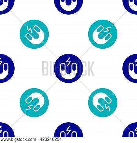 Blue Magnet Icon Isolated Seamless Pattern On White Background. Horseshoe Magnet, Magnetism, Magneti