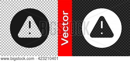 Black Exclamation Mark In Triangle Icon Isolated On Transparent Background. Hazard Warning Sign, Car