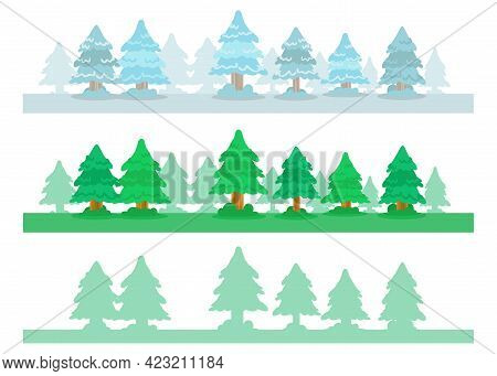 Pine Trees Banner Collection: Summer, Winter And Silhouette. Cartoon Vector Illustration