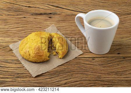 Broa, Typical Brazilian Corn Flour Bread With Coffee.