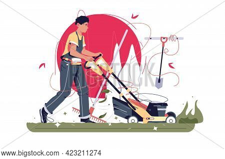 Male Gardener Mows Grass With Lawn Mower Vector Illustration. Handyman Busy With Garden Maintenance
