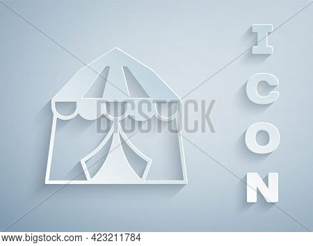 Paper Cut Circus Tent Icon Isolated On Grey Background. Carnival Camping Tent. Amusement Park. Paper